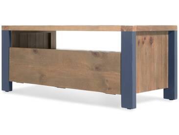 Bala, meuble TV, bois massif et bleu