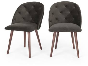 Clarris, lot de 2 chaises, velours gris