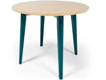 MADE Essentials - Hurst, table ronde à tréteaux, chêne et fini bleu canard