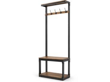 Layne, meuble dentrée, bois de manguier et acier noir