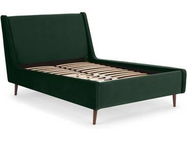 Higgs, lit double (140 x 200) avec sommier, velours vert sapin