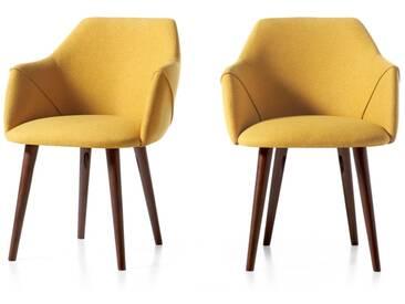 Lule, lot de 2 chaises à accoudoirs, tissu jaune moutarde et pieds en noyer