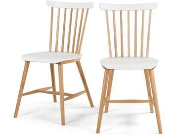 Deauville, lot de 2 chaises, frêne et blanc