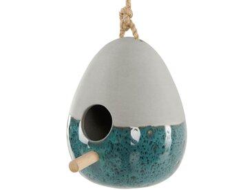 Kiwi, nichoir et mangeoire à oiseaux en faïence avec glaçure réactive, bleu