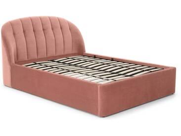 Margot, lit coffre super king size (180 x 200) avec sommier, velours rose poudré