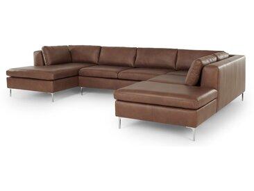 Monterosso, canapé d'angle droit, cuir brun noix