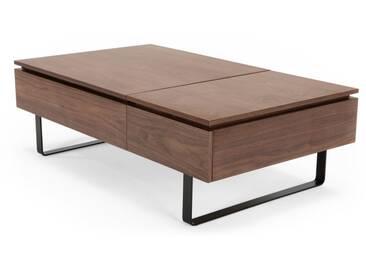 Flippa, table basse fonctionnelle avec rangement, noyer