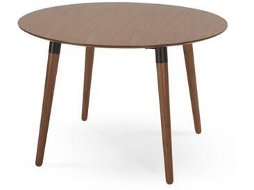 Edelweiss, table ronde, noyer et noir