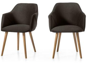 Lule, lot de 2 chaises à accoudoirs, velours gris et pieds en chêne