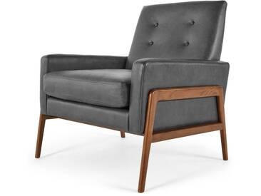Cecil, fauteuil, cuir de qualité supérieure gris Oxford