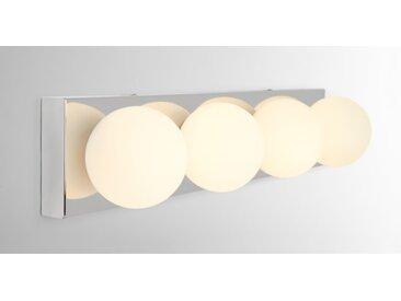 Apollo, luminaire LED de salle de bain rectangulaire, fini chromé et verre opale