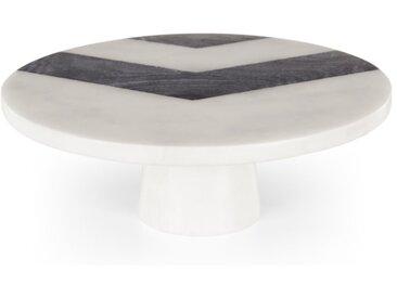Opal, présentoir à gâteau rond en marbre, noir et blanc