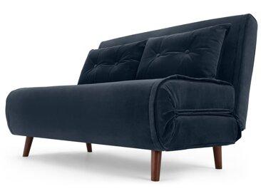 Haru, petit canapé convertible, velours bleu saphir