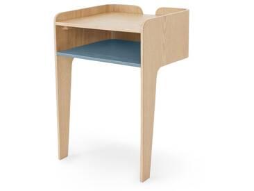 Sway, table de chevet, frêne et bleu canard