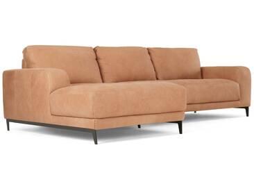 Luciano, canapé dangle avec méridienne à gauche, cuir brun