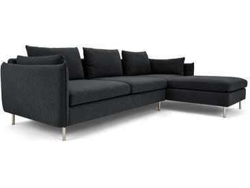 Vento, canapé dangle 3 places avec méridienne à droite, gris sterling
