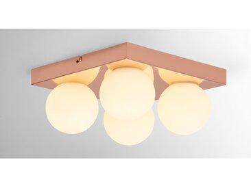 Apollo, luminaire LED de salle de bain carré à 4 ampoules, fini cuivré et verre opale