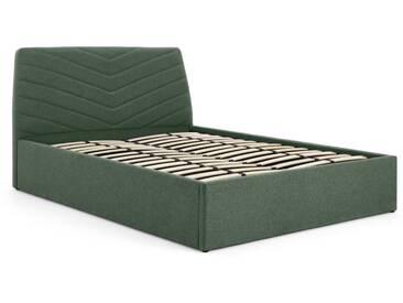 Lex, lit double (140 x 200) avec compartiment de rangement, vert deau