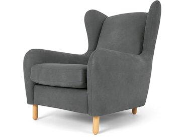 Rubens, fauteuil bergère, cuir gris anthracite