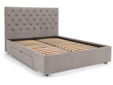 Skye, lit double avec compartiment de rangement, gris chouette