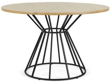 Khalida, table ronde, bois de manguier teinté et métal noir