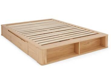 MADE Essentials - Kano, lit à tiroirs double (140 x 200) avec sommier, pin