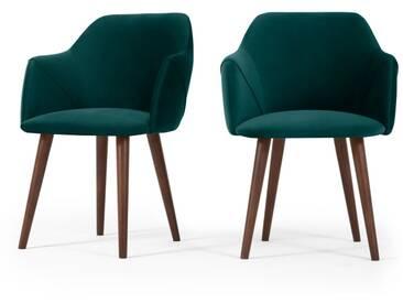 Lule, lot de 2 chaises, bleu écume velours avec pieds en noyer