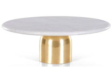 Daan, présentoir à gâteau en marbre et métal, blanc et doré