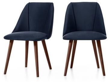 Lule, lot de 2 chaises, velours bleu roi et noyer