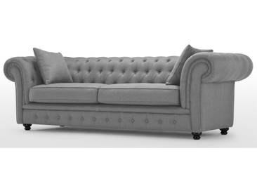 Branagh, canapé Chesterfield 3 places, gris perle