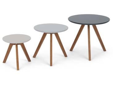 Orion, lot de 3 tables dappoint, fini foncé et gris