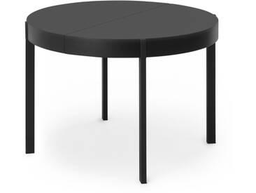 Oxford, table ronde à rallonge, noir
