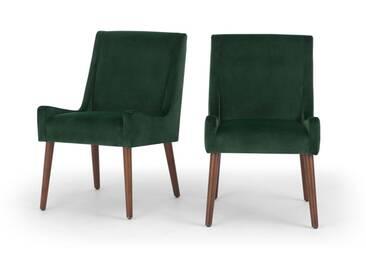 Higgs, lot de 2 chaises en velours, vert sapin