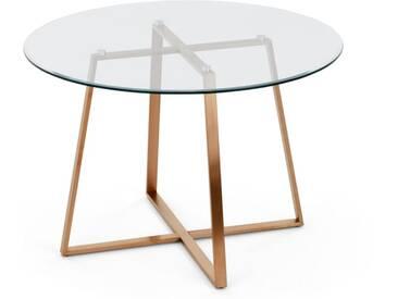 Haku, grande table ronde, cuivre et verre