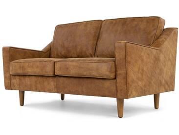 Dallas, canapé 2 places, cuir de qualité supérieure marron clair