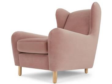 Rubens, fauteuil bergère, velours vieux rose
