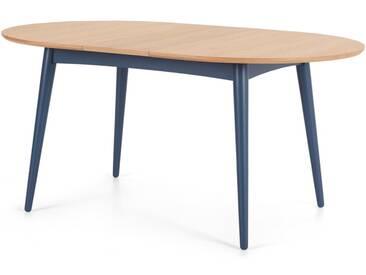 Deauville, table à manger ovale extensible pour 4 à 6 personnes, chêne et bleu