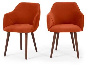 Lule, lot de 2 chaises à accoudoirs, velours orange flamme et pieds en noyer
