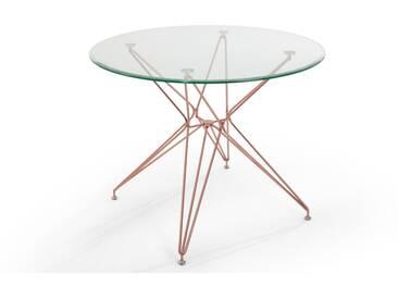 Belden, table ronde, verre et cuivre