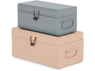 Daven, lot de 2 petits coffres en métal avec attache en cuir, rose et gris