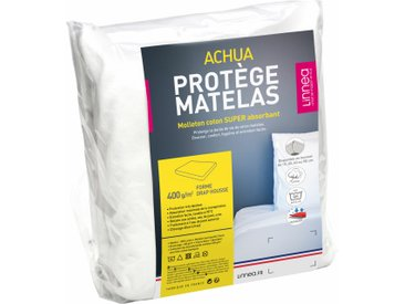 Protège matelas 140x210 cm ACHUA Molleton 100% coton 400 g/m2 bonnet 40cm