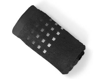 Drap de bain 100x150 cm PURE SQUARES Noir 550 g/m2