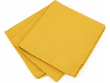 Lot de 3 serviettes de table 45x45 cm Jacquard 100% coton CUBE jaune Curcuma