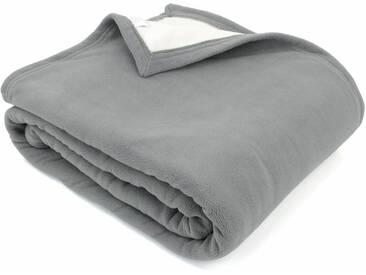 Couverture polaire luxe 180x220 cm 100% polyester 430 g/m2 NARVIK Gris Acier