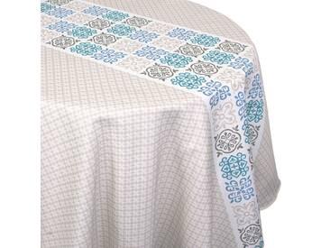 Nappe ronde 180 cm imprimée 100% polyester CARO géométrique bleu Turquoise