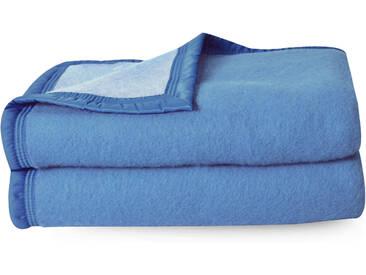Couverture pure laine vierge Woolmark 500g/m² VOLTA 180x240 cm Bleu Azur