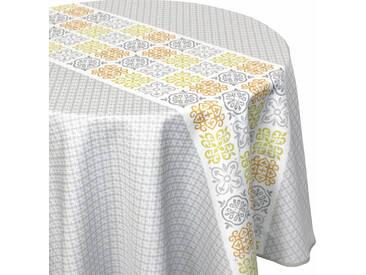 Nappe ronde 180 cm imprimée 100% polyester CARO géométrique gris