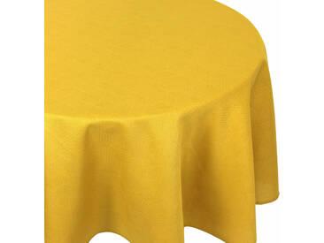Nappe ronde 180 cm Jacquard 100% coton CUBE jaune Curcuma
