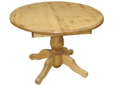 Table repas ronde pin massif pied central 110 cm Transilvania
