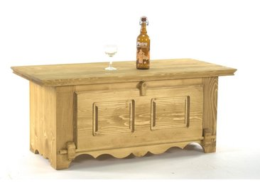 Table basse bar en pin massif Chamonix 1 porte rabattable